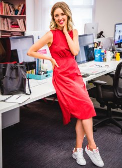 red-dress-sneakers-office-look