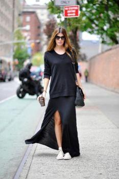 vestido-com-tenis-com-vestido-preto